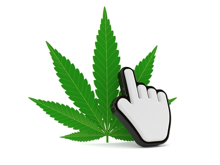 Cannabis leaf with web cursor isolated on white background. 3d illustration Stock Photo