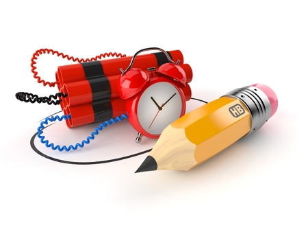 Time bomb with pencil isolated on white background. 3d illustration