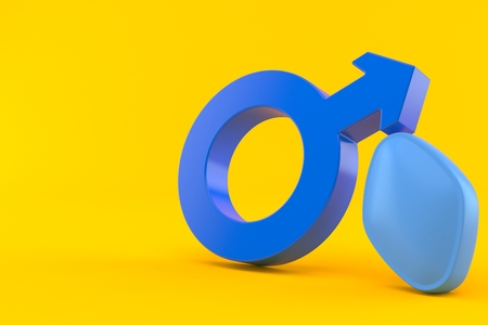 Erection problem concept isolated on orange background. 3d illustration Archivio Fotografico