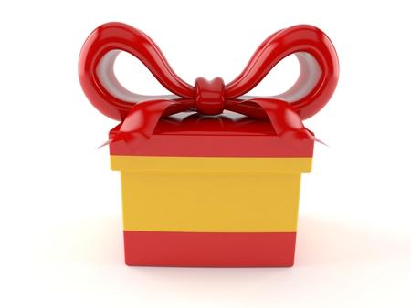 Gift with spanish flag isolated on white background. 3d illustration Stock Photo