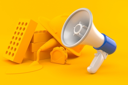 Masonry background with megaphone in orange color. 3d illustration