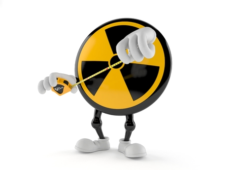 Radioactive character holding measuring tape isolated on white background. 3d illustration