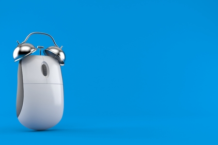Computer mouse with alarm clock isolated on blue background. 3d illustration Stock Photo