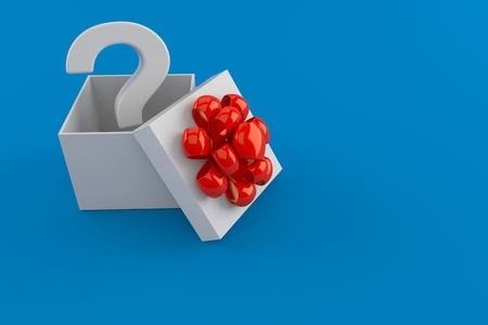Question mark inside gift isolated on blue background. 3d illustration Stock Photo