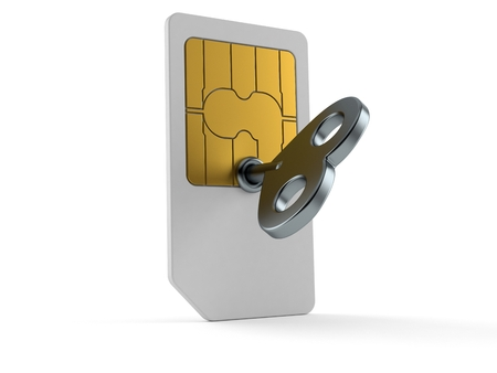 SIM card with clockwork key isolated on white background. 3d illustration