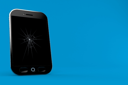 Broken smart phone isolated on blue background. 3d illustration Stock Photo