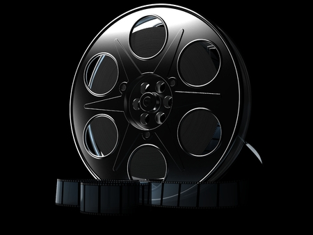 Film reel on black background. 3d illustration Stock Photo