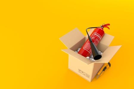 Fire extinguisher inside cardboard box isolated on orange background. 3d illustration Stock Photo