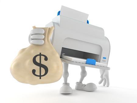 Printer character holding money bag isolated on white background. 3d illustration