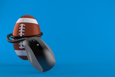 Rugby ball with computer mouse isolated on blue background. 3d illustration Stock Photo