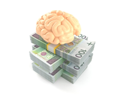 Brain on stack of money isolated on white background. 3d illustration