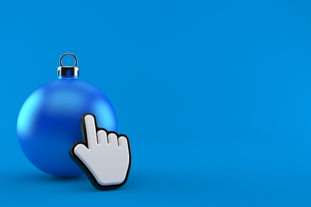 Christmas bauble with web cursor isolated on blue background. 3d illustration