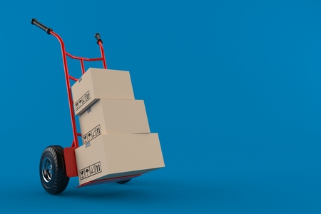 Hand truck with packages isolated on blue background. 3d illustration