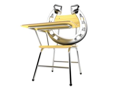 Horseshoe with school chair isolated on white background. 3d illustration Stock Photo