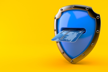 Shield with credit card isolated on orange background. 3d illustration