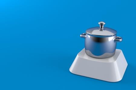 Kitchen pot on computer key isolated on blue background. 3d illustration