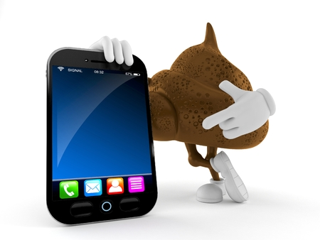 Poop character with smartphone isolated on white background. 3d illustration