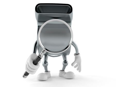 Whistle character looking through magnifying glass isolated on white background. 3d illustration