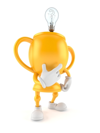 Golden trophy character with an idea isolated on white background. 3d illustration Imagens
