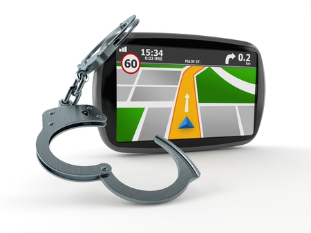 GPS navigation with handcuffs isolated on white background. 3d illustration Stockfoto - 110912071