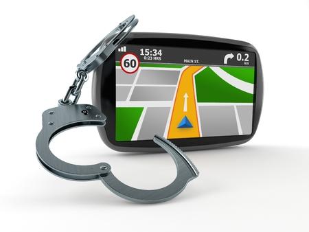 Navegación GPS con esposas aislado sobre fondo blanco. Ilustración 3d