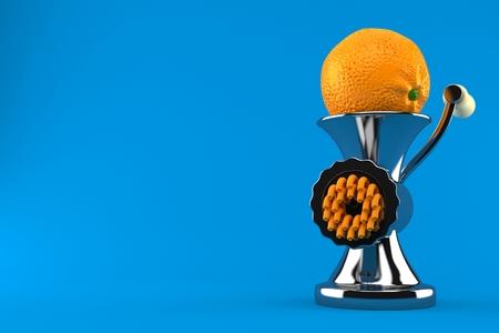 Orange inside mincer isolated on blue background. 3d illustration