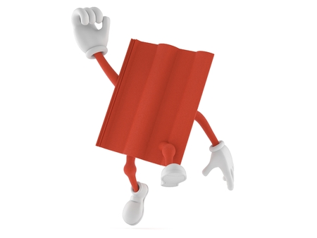 Roof tile character jumping in joy isolated on white background. 3d illustration Stockfoto