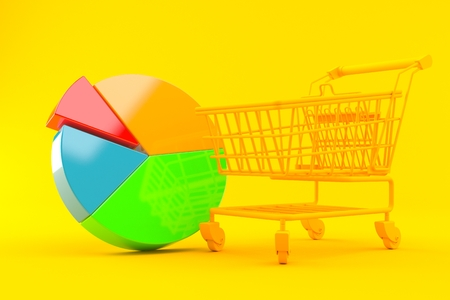 Shopping background with pie chart in orange color. 3d illustration