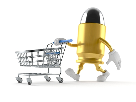 Bullet character with shopping cart isolated on white background. 3d illustration