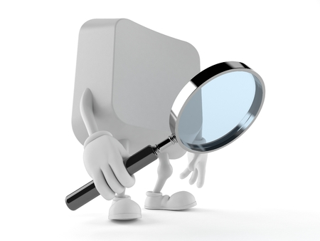 Computer key character looking through magnifying glass isolated on white background. 3d illustration Imagens