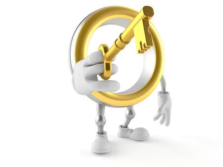 Wedding ring character holding door key isolated on white background. 3d illustration Banco de Imagens