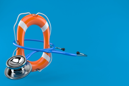 Stethoscope with life buoy isolated on blue background. 3d illustration