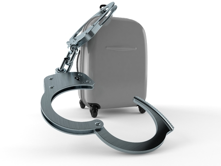 Suitcase with handcuffs isolated on white background. 3d illustration