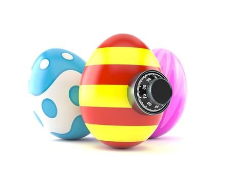 Easter eggs with combination lock isolated on white background. 3d illustration