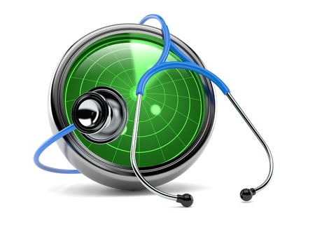 Radar with stethoscope isolated on white background. 3d illustration