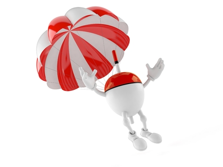 Fishing float character with parachute isolated on white background. 3d illustration Stock Photo
