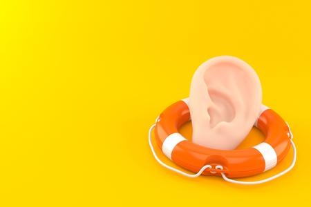 Ear inside life buoy isolated on orange background. 3d illustration
