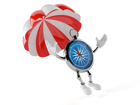 Compass character with parachute isolated on white background. 3d illustration Stock Photo