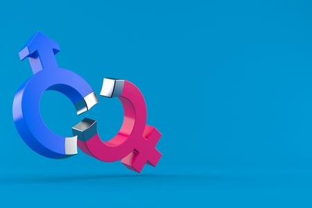 Gender symbols in horseshoe magnet shape isolated on blue background. 3d illustration