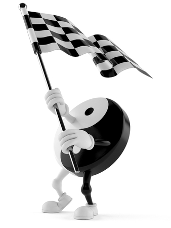 Jing Jang character waving race flag isolated on white background. 3d illustration Stok Fotoğraf