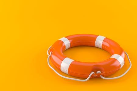 Life buoy isolated on orange background. 3d illustration Stock Photo