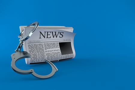 Newspaper with handcuffs isolated on blue background. 3d illustration