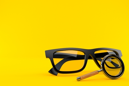 Glasses with magnifying glass isolated on orange background. 3d illustration