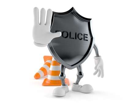 Police badge character with stop gesture isolated on white background. 3d illustration