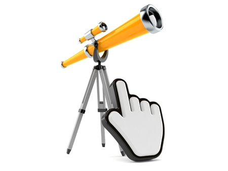 Telescope with web cursor isolated on white background. 3d illustration