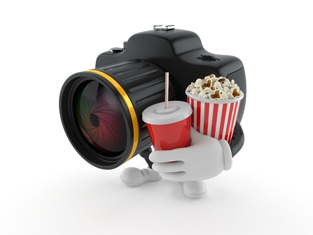 Camera character holding popcorn and soda isolated on white background. 3d illustration Foto de archivo - 111395718