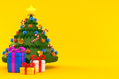 Christmas tree with few gifts isolated on orange background. 3d illustration