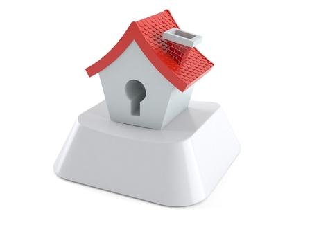 Small house on computer key isolated on white background. 3d illustration Reklamní fotografie