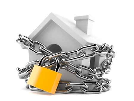 Small house with padlock and chain isolated on white background. 3d illustration Stock Photo