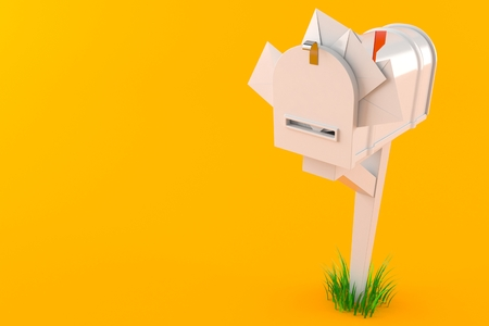Mailbox with letters isolated on orange background. 3d illustration Reklamní fotografie